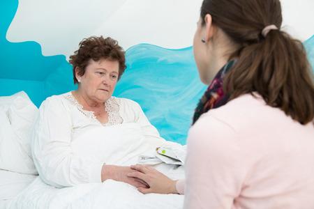 Portrait of a senior woman ill.