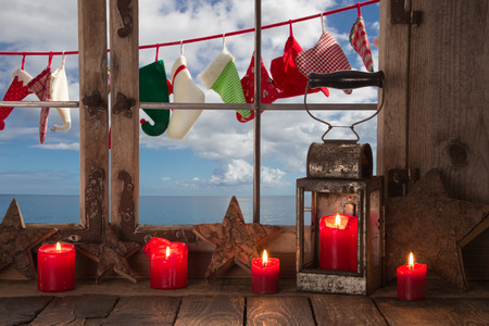 Christmas eve on the sea: holidays on the ocean in christmas time. photo