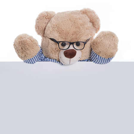 childcare: Isolated teddy bear holding an empty sign or placard for advertising  Concept for children  Stock Photo