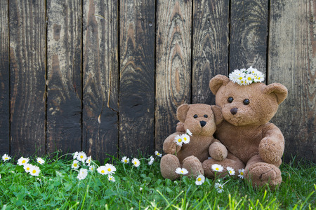 Happy teddy bears - mum and her baby on wooden background for concepts. photo