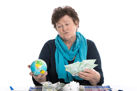 poorness: Poorness in the age: senior woman dreaming of vacancies - money concept.