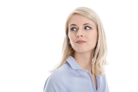 Satisfied isolated young business woman looking sideways to text. photo