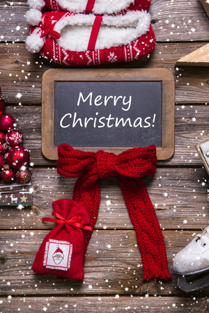 Merry christmas greeting card in classic style: red, white, wood in country style. photo