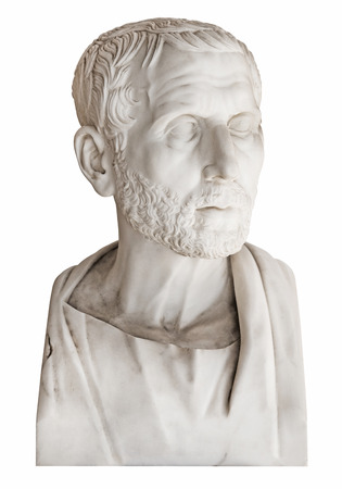 Isolated old marble bust of the greek philosopher Posidonius over white background. photo