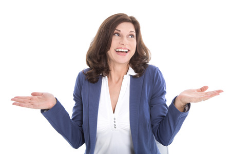 Isolated smiling middle aged business woman in blue  Concept for decission  Stock Photo