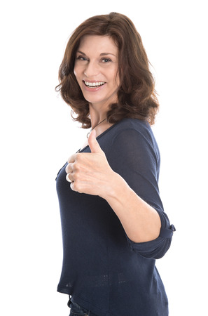 menopause: Happy isolated mature woman in the fifties isolated over white background.