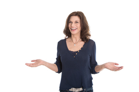 menopause: Happy mature isolated woman - change of life and happiness.