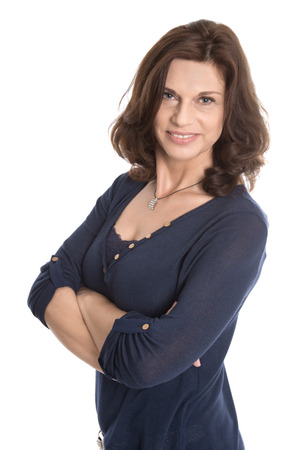 MENOPAUSE: Attractive middle aged woman isolated over white background. Stock Photo