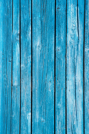 Surface of an old wooden background - used, weathered and old in blue color. Stock Photo