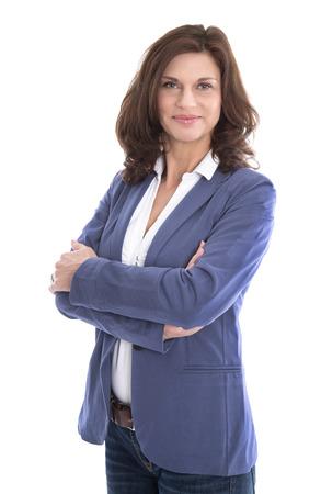 Retrato de una atractiva y joven mujer de negocios aislados sobre fondo blanco. Foto de archivo - 30470481
