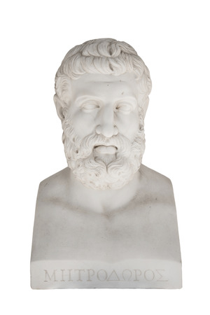 savant: ACHILLEON, CORFU ISLAND, GREECE - June 22nd, 2010: Metrodorus of Lampsacus, Greek philosopher of the Epicurean school