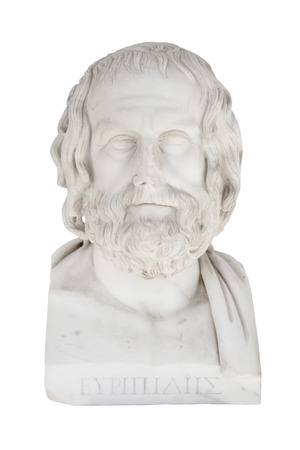 chr: Isolated marble bust of Euripides, died in 406 before Chr.. Sculpture in the Achilleion of Corfu in Greece. Stock Photo