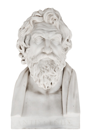Isolated bust of Antisthenes - greek philosopher and pupil of Socrates. Replica in the Achilleion of Corfu in Greece. Born in 445 BCE. Stock Photo