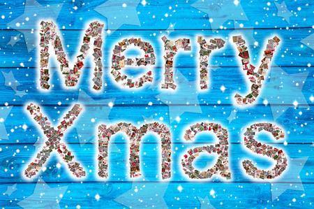 felicitation: Merry christmas wishes on blue wooden background and collage. Stock Photo