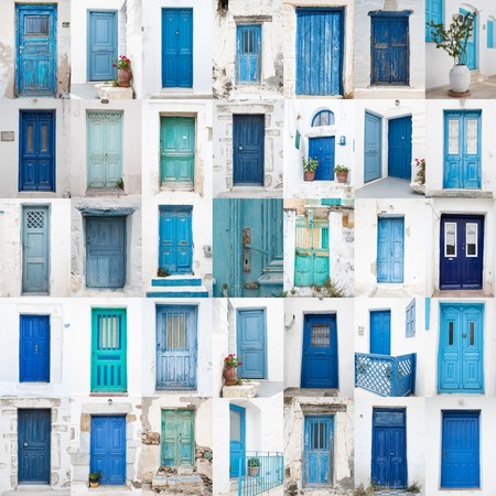 Collage of different blue old wooden doors from greek islands - Traveling around the cyclades in greece.