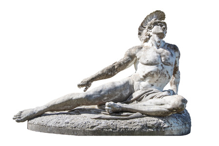 homer: Statue of dying Achilles in Achilleion Villa Vraila on Corfu. Stock Photo
