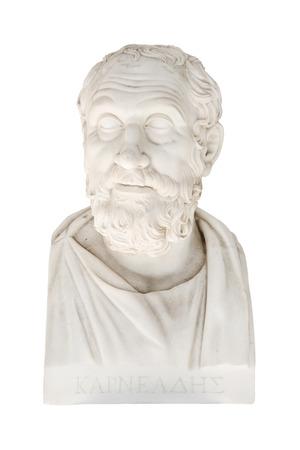 savant: Karneades of  Kyrene - Carneades 214213 before christ - marble bust portrait  in the Achilleion of Corfu in Greece. Greek philosopher.