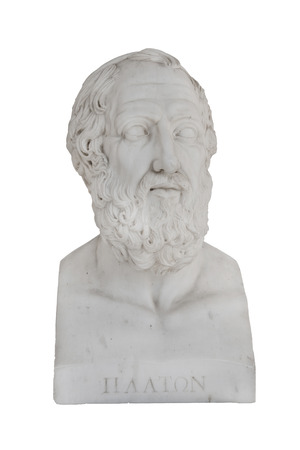 savant: Isolated bust of Platon (died 348 before Christ) - sculpture in the Archilleion of Corfu palace in Greece.