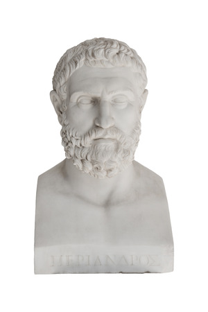 savant: Isolated bust of Periandros ( died 583 before Christ) - replica in the Achilleon palace in Corfu. Stock Photo
