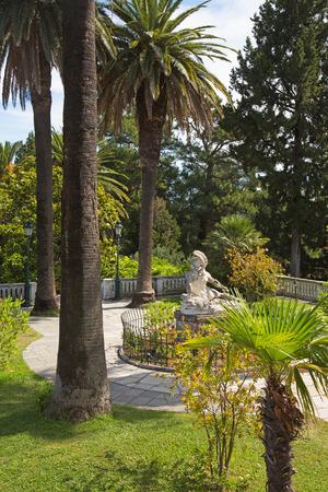 statuary garden: Garden of Villa Vraila - Achilleion - on Corfu islands in summer.