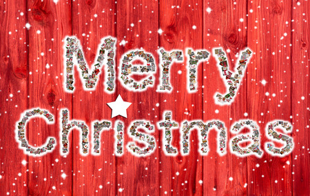 felicitation: Merry Xmas text on wooden red background.