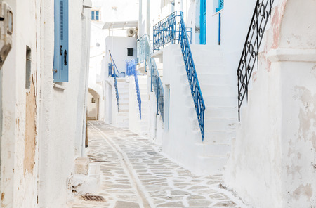 kyklades: Architecture on the Cyclades. Greek Island buildings with her typical blue doors and white houses. Stock Photo