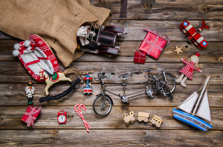 for children toys: Old wooden and tin toys for children - christmas decoration vintage style. Stock Photo