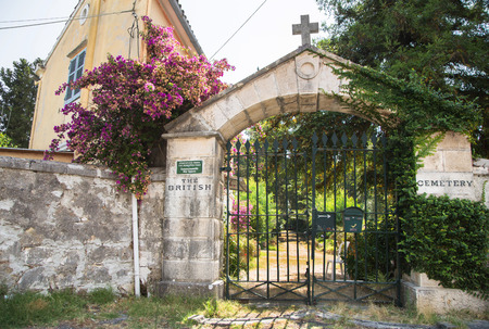 kerkyra: Sightseeing in Corfu City: interesting place - ancient old british cemetery from the first world war. Stock Photo