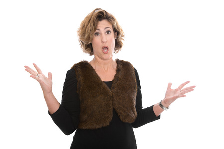 desperation: Furious shocked and crying isolated middle aged business woman isolted over white background. Stock Photo