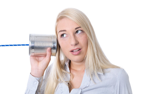 intercept: Communication or advertising concept: young isolated businesswoman calling with tin can or monitoring.