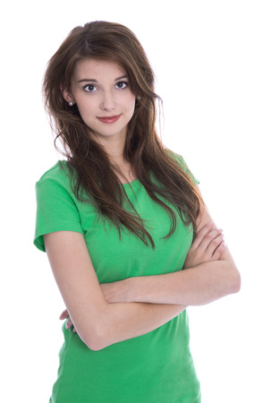 the whole body: Portrait: Beautiful brunette young woman isolated over white wearing green shirt. Stock Photo