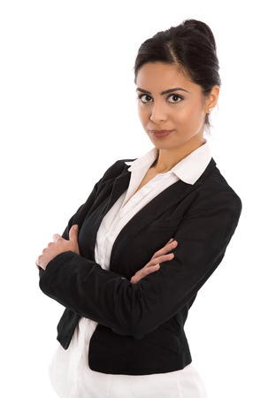 saleslady: Isolated successful happy indian business woman over white wearing elegant outfit  Stock Photo