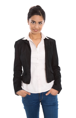 saleslady: Isolated successful happy indian business woman over white wearing blazer, blouse and blue jeans