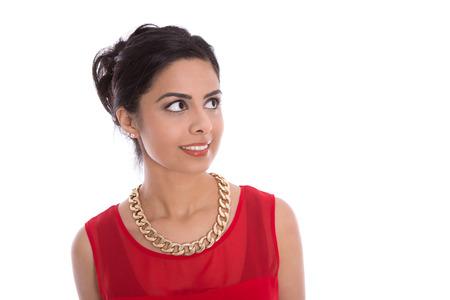 Ogen van een mooie geïsoleerde Indiase vrouw zijwaarts op zoek naar tekst Stockfoto