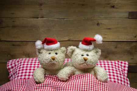 osos navideños: Dos osos de peluche en la víspera de Navidad: idea para una tarjeta de felicitación ingeniosa y humorística.