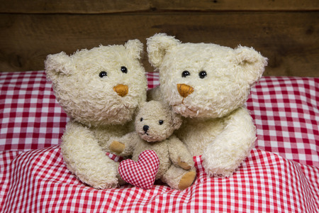 humorously: Happy teddy bear family with a baby lying in a red white checkered bed.