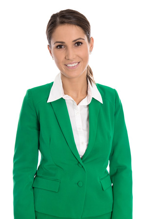 Portrait of a smiling successful isolated businesswoman wearing green blazer. photo