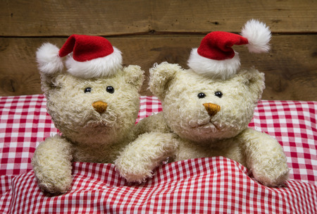 Lovers: two teddy bears sitting on christmas with hats in the red white checkered bed. Stock Photo