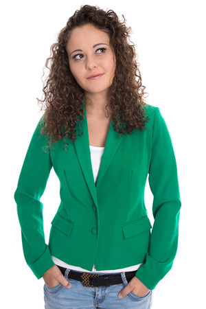 glimpse: Isolated smiling young woman in green with stop curls looking sideways to text. Stock Photo