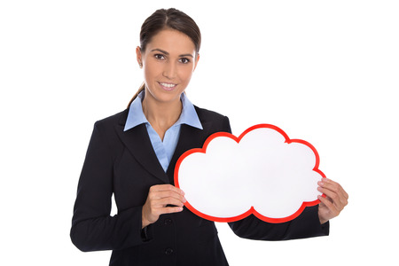 special agent: Isolated smiling businesswoman holding red white sign in her hands wearing business outfit. Stock Photo