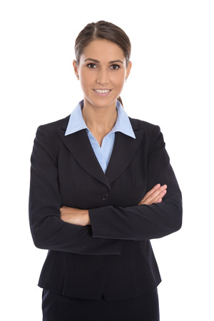 blazer: Attractive isolated smiling businesswoman in blue suit over white.