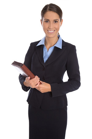 Attractive isolated smiling businesswoman in blue suit over white.