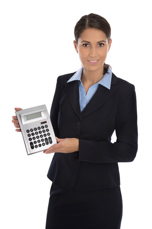 Happy isolated and elegant businesswoman showing pocket calculator. Stock Photo