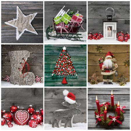 Collage of several different colorful christmas decoration on wooden background with snow. photo