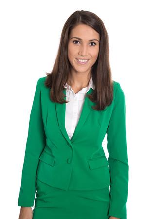 dark haired: Portrait of a successfu elegant isolated businesswoman wearing green blazer.