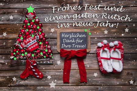 commercial tree service: Christmas card for business partners, customers and staff with german text: Merry christmas and a happy new year and thanks for your loyalty.