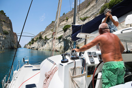bridgework: Crossing with a catamaran or sailing yacht trough the Channel of Corinth. Its between Greece and Peloponnese.