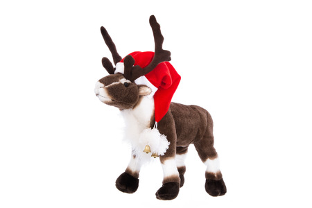 rudolph: Isolated cuddly toy: Reindeer Rudolph with red christmas hat. Stock Photo
