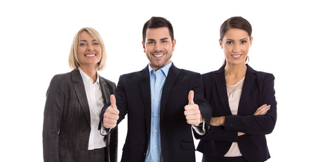 Gender equality: one man with two business woman isolated over white background. Archivio Fotografico