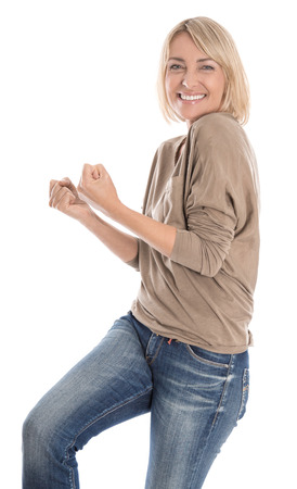 Portrait: Pretty mature isolated blond woman cheering over white.